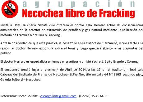 invitación charla fracking con Felix Herrero